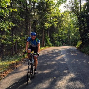Climbing the lower part of Woodstock Tower Road